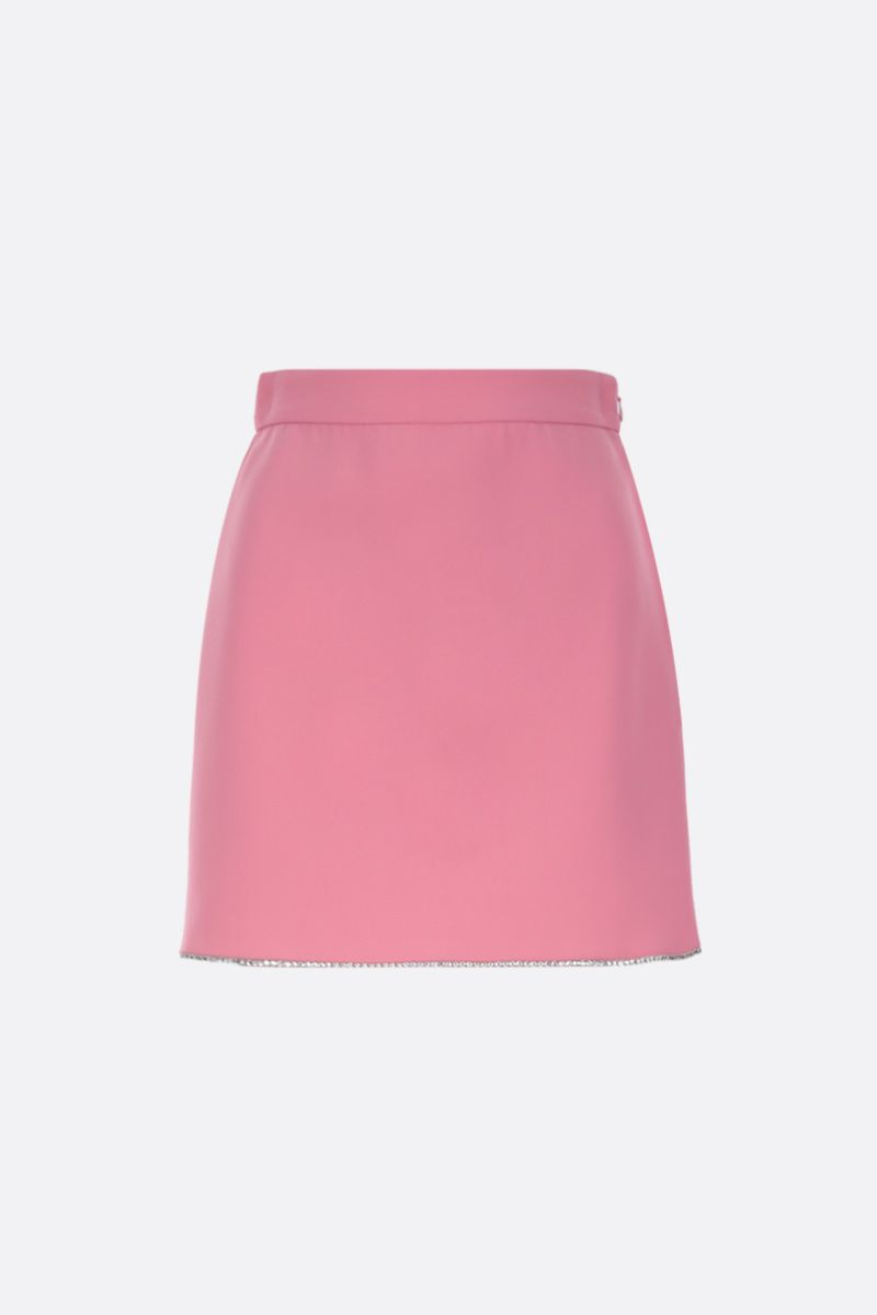 MIU MIU: rhinestones embellished faille cady A-line miniskirt Color Pink_1