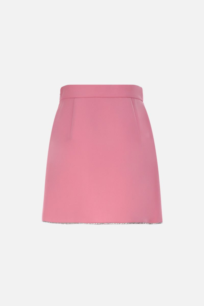 MIU MIU: rhinestones embellished faille cady A-line miniskirt Color Pink_2