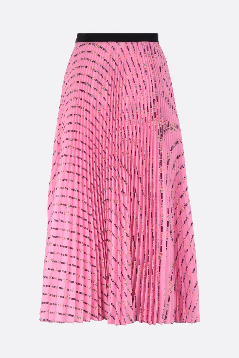 MIU MIU: logo-print satin pleated midi skirt Color Pink_2