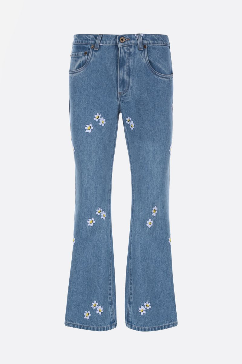 MIU MIU: floral embroidered flared jeans Color Blue_1