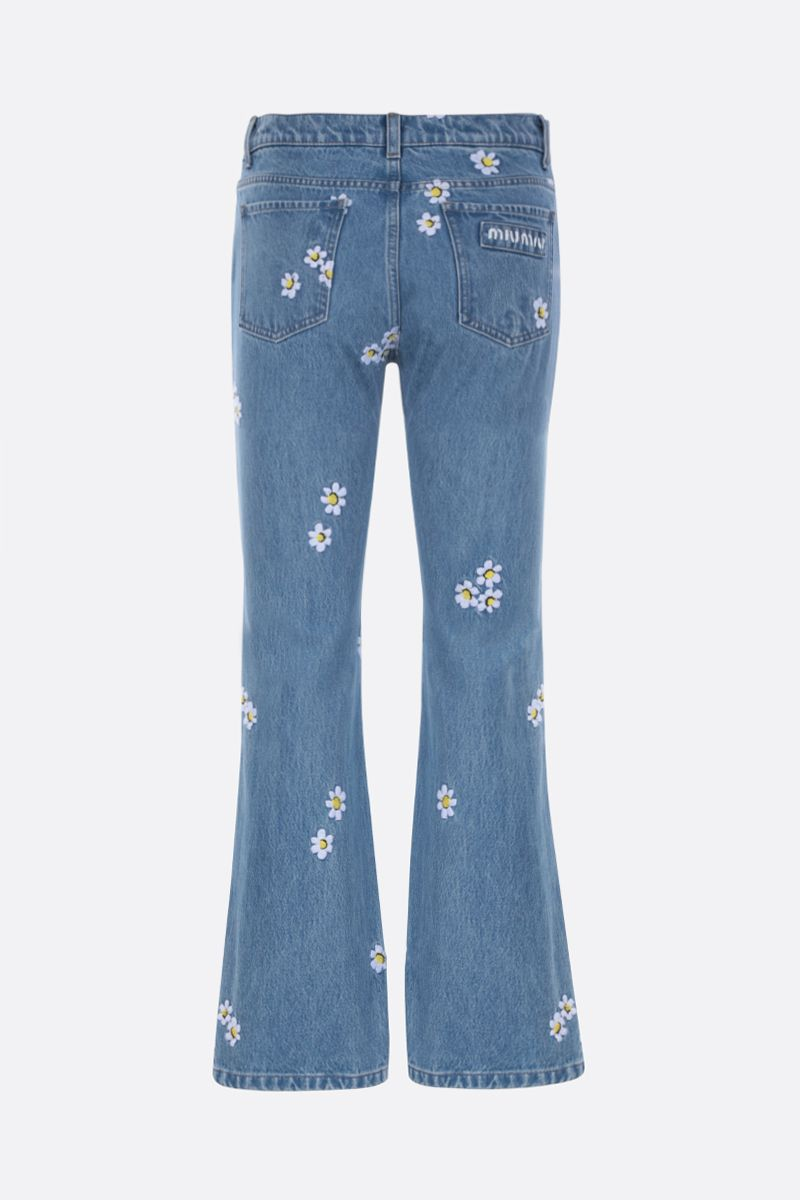 MIU MIU: floral embroidered flared jeans Color Blue_2