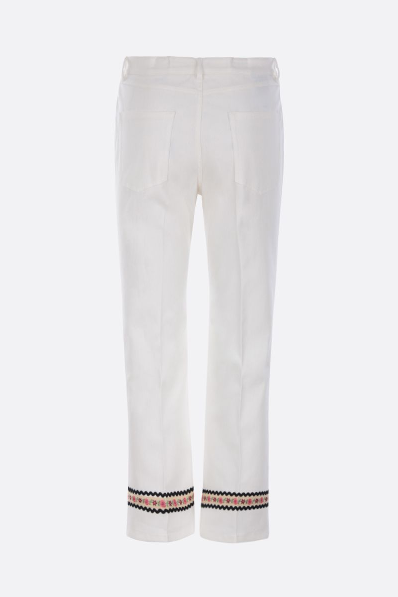 MIU MIU: floral embroidered crop jeans Color White_2