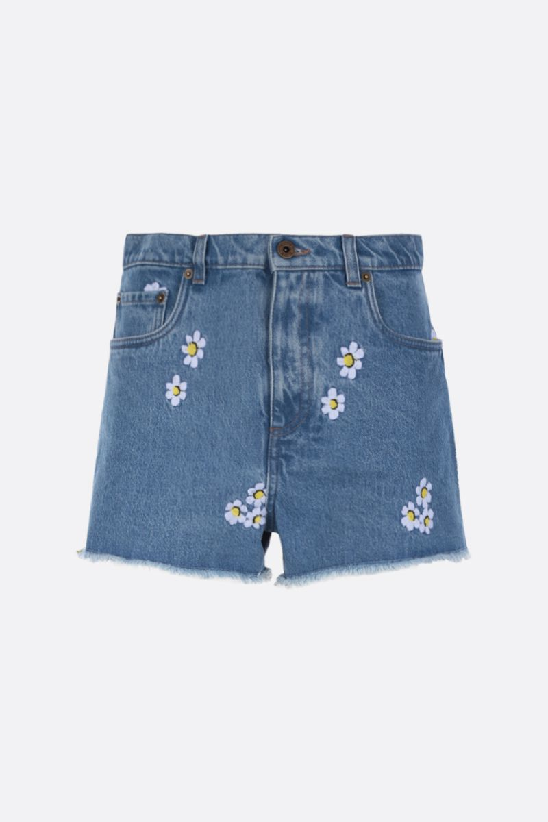 MIU MIU: shorts in denim con ricamo floreale Colore Blu_1