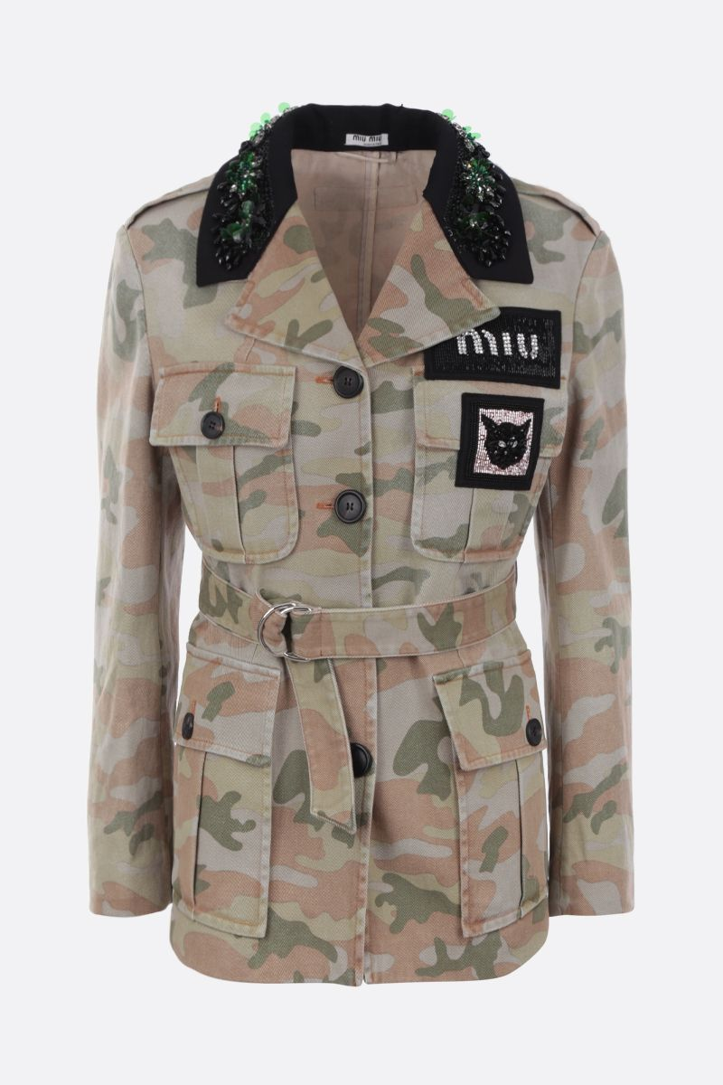 MIU MIU: camouflage print drill bush jacket Color Green_1