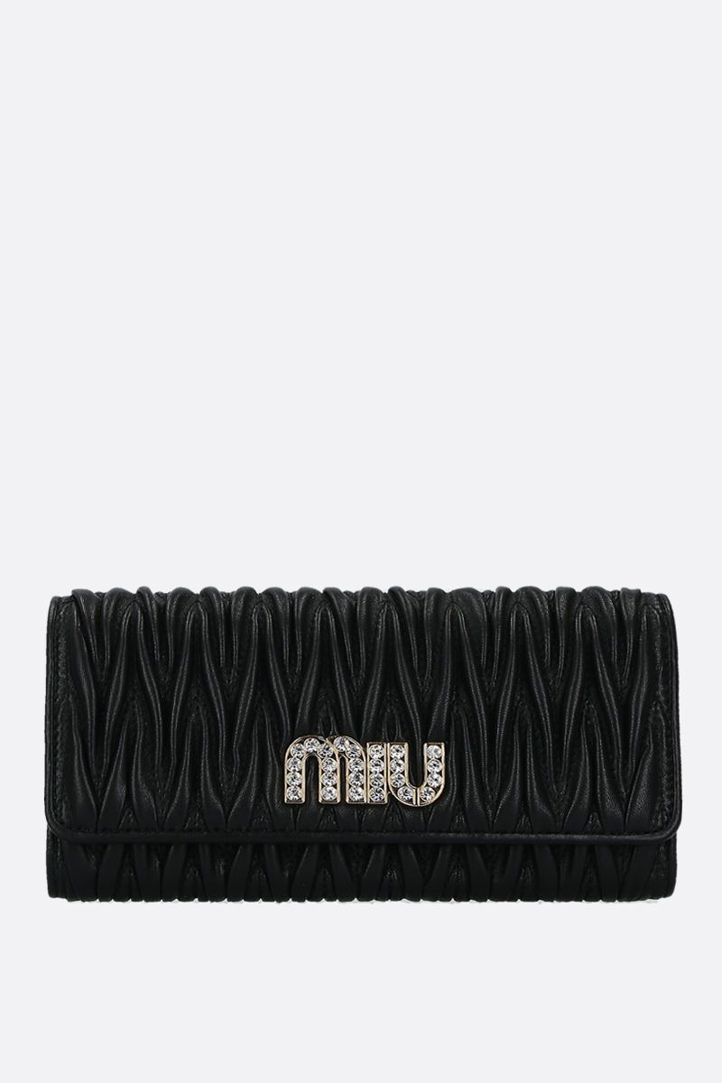 MIU MIU: quilted nappa flap wallet Color Black_1