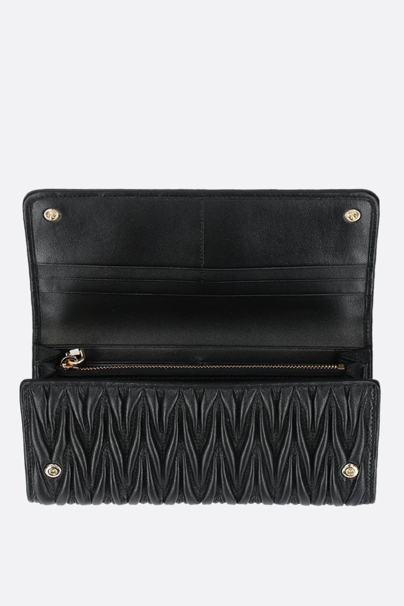 MIU MIU: quilted nappa flap wallet Color Black_2
