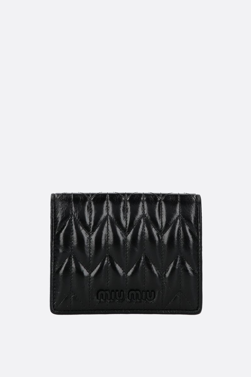 MIU MIU: quilted Shine leather flap wallet Color Black_1