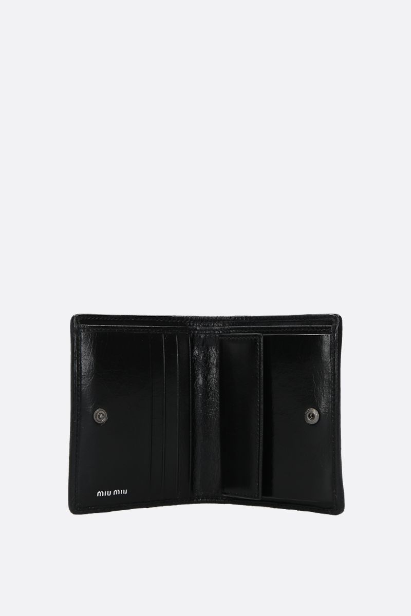 MIU MIU: quilted Shine leather flap wallet Color Black_2