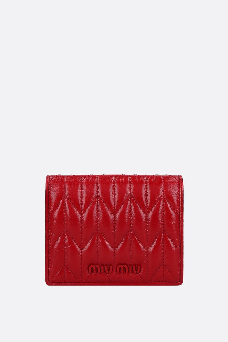 MIU MIU: quilted Shine leather flap wallet Color Red_1