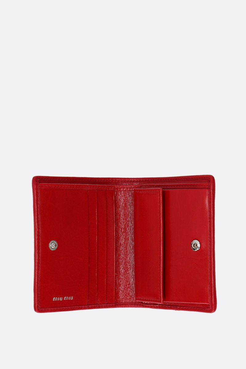MIU MIU: quilted Shine leather flap wallet Color Red_2
