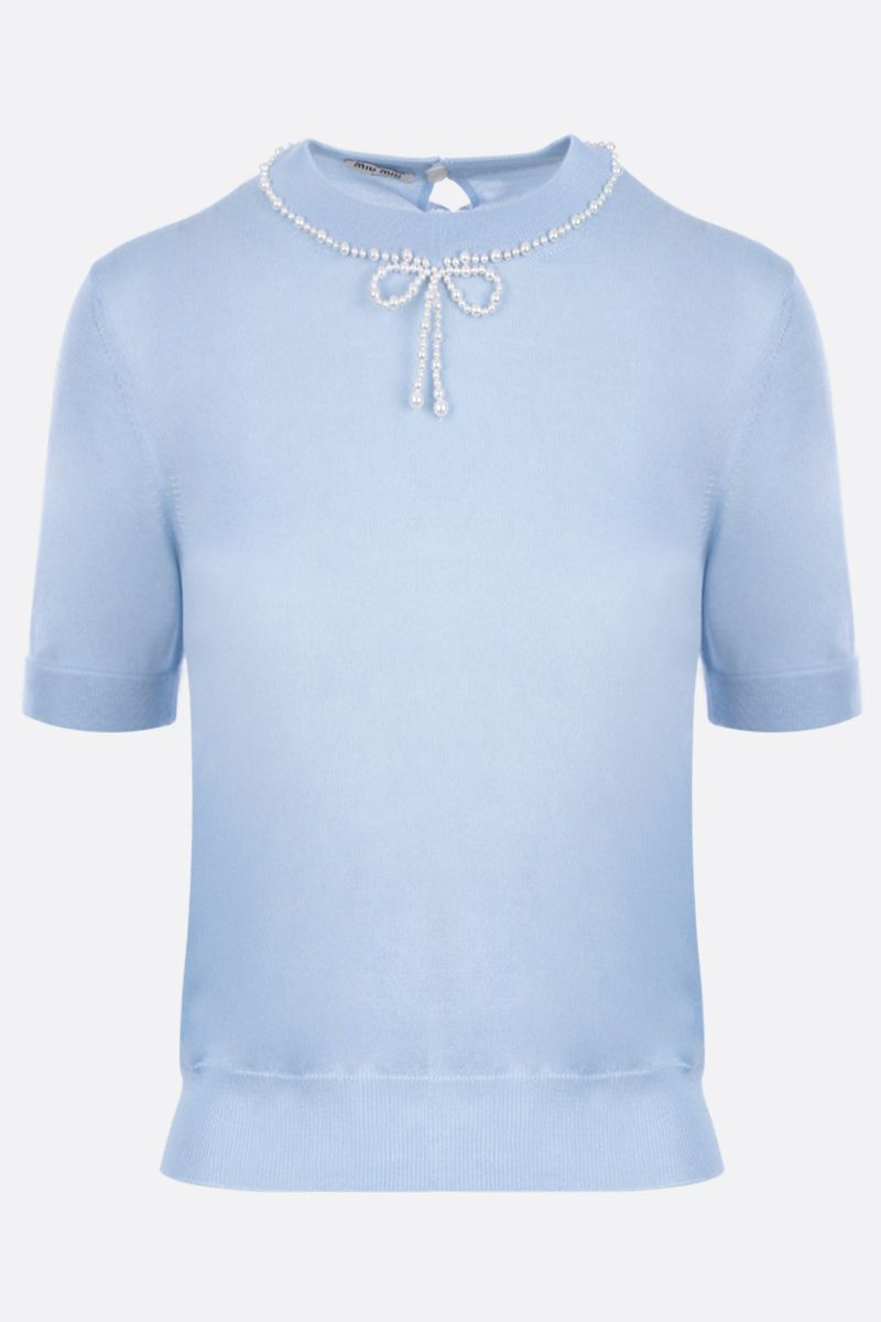 MIU MIU: short-sleeved pullover in cashmere silk blend Color Blue_1