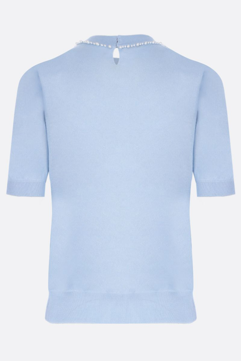 MIU MIU: short-sleeved pullover in cashmere silk blend Color Blue_2