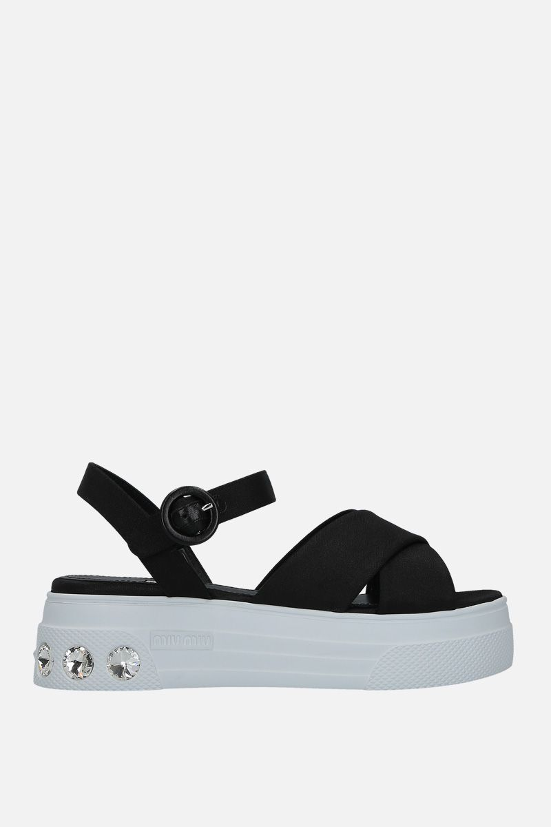 MIU MIU: tech nylon flatform sandals Color Black_1
