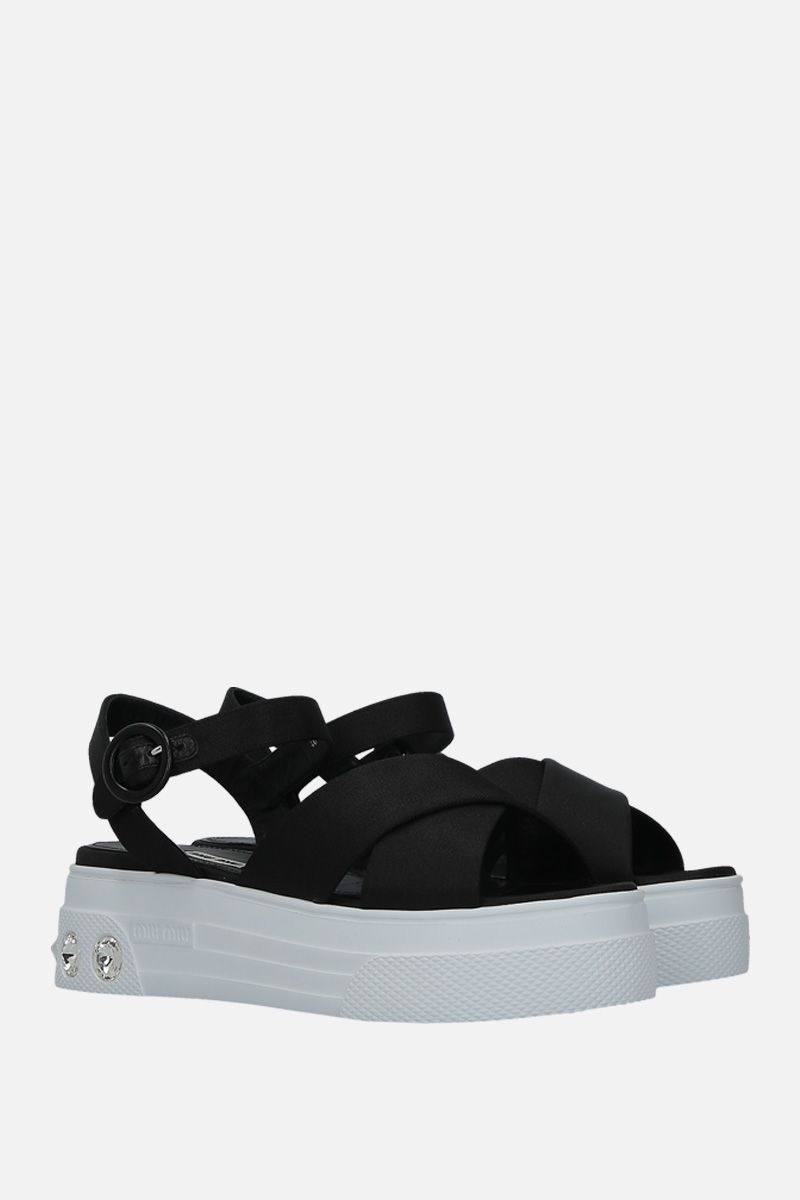 MIU MIU: tech nylon flatform sandals Color Black_2