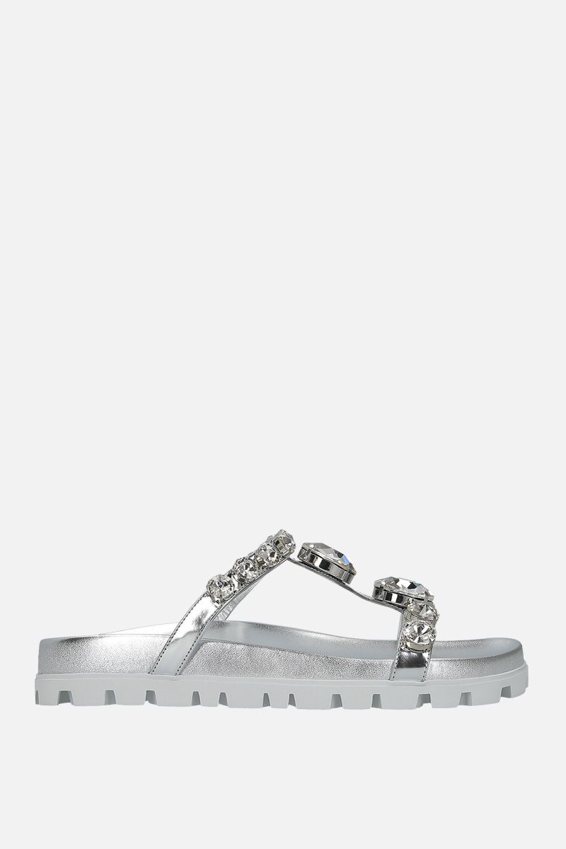 MIU MIU: crystal-embellished laminated leather sandals Color Silver_1