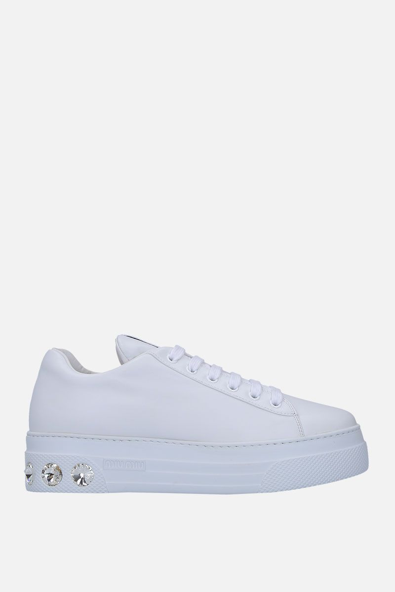 MIU MIU: smooth leather flatform sneakers with crystals Color White_1