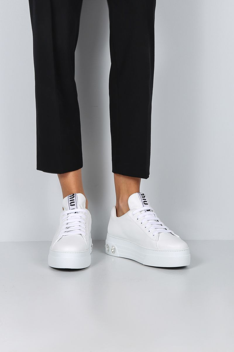 MIU MIU: smooth leather flatform sneakers with crystals Color White_2