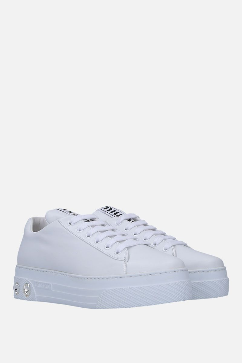 MIU MIU: smooth leather flatform sneakers with crystals Color White_3