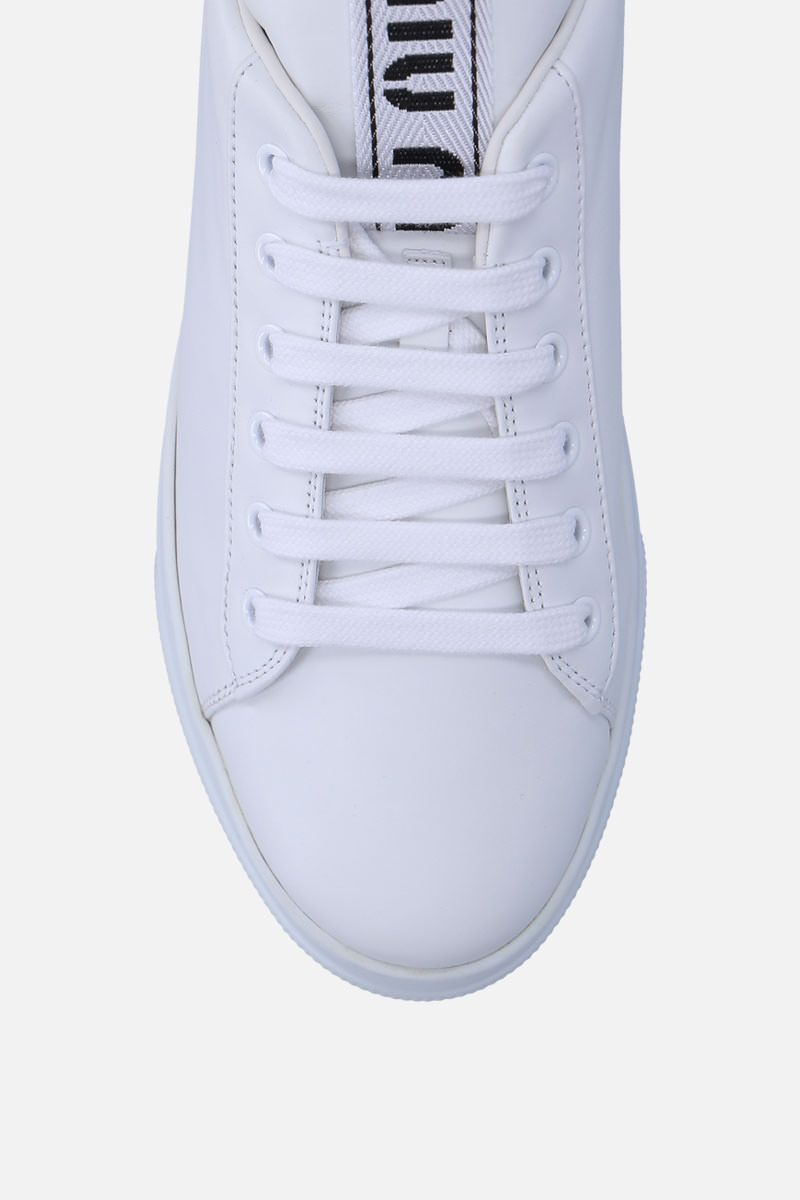 MIU MIU: smooth leather flatform sneakers with crystals Color White_5