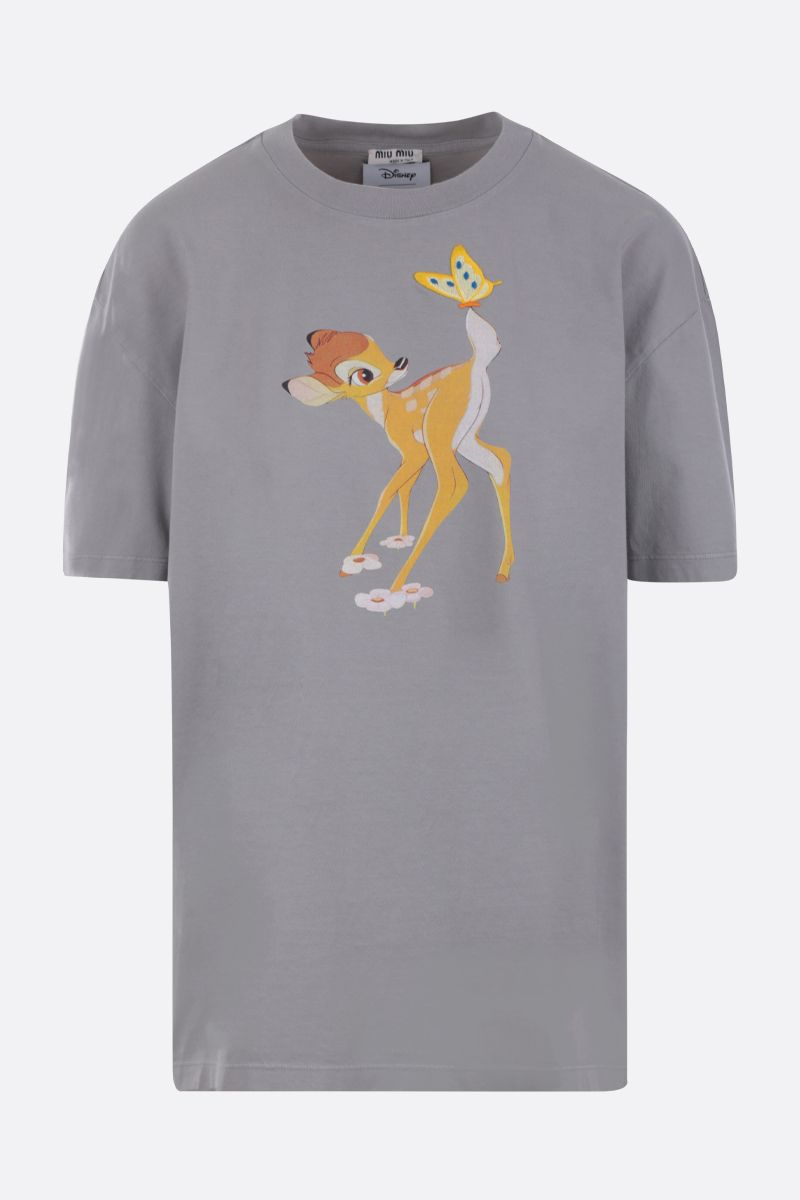 MIU MIU: Bambi print cotton oversized t-shirt Color Grey_1
