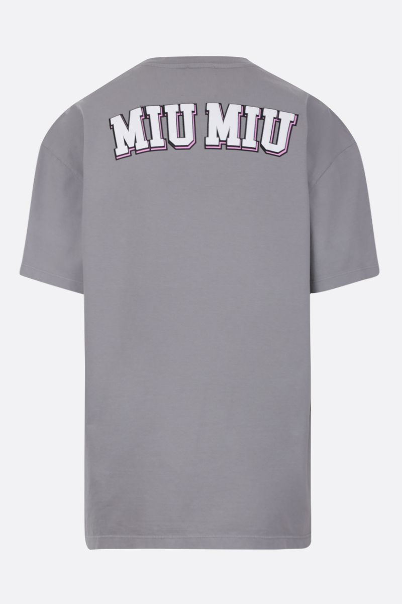 MIU MIU: Bambi print cotton oversized t-shirt Color Grey_2