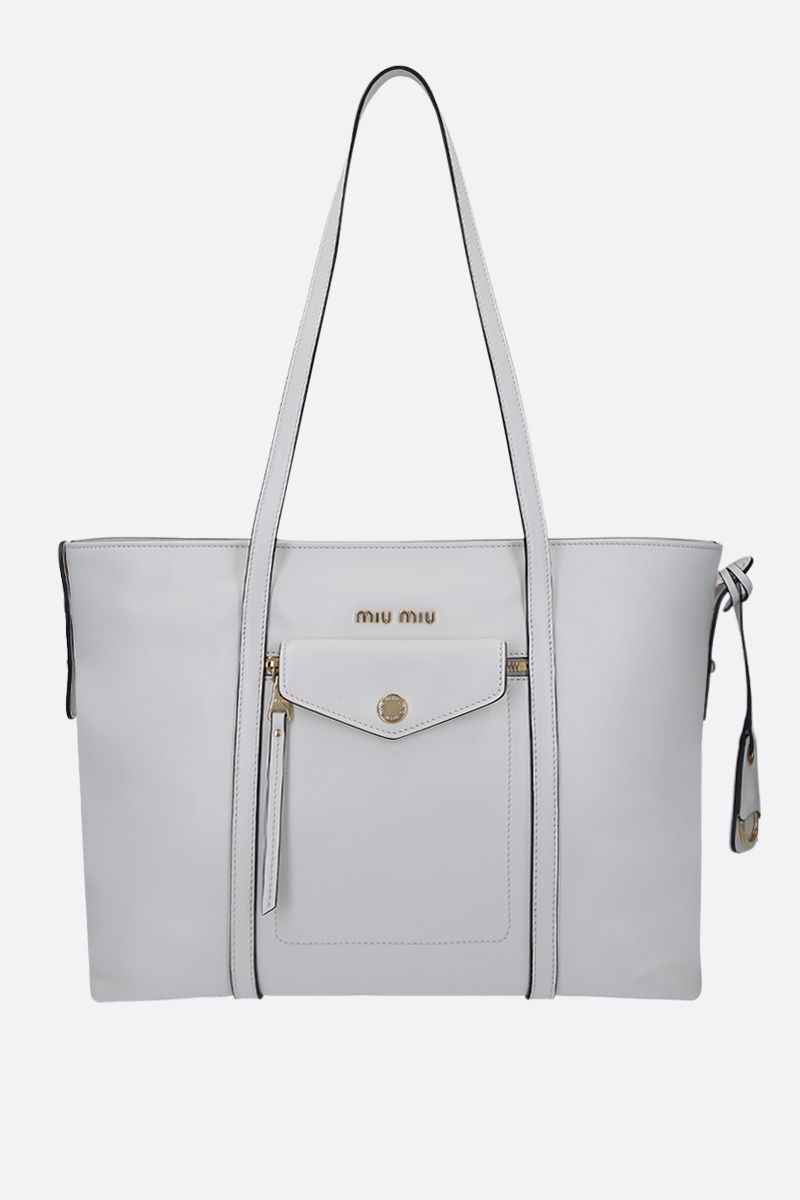 MIU MIU: Grace Lux leather tote bag Color White_1