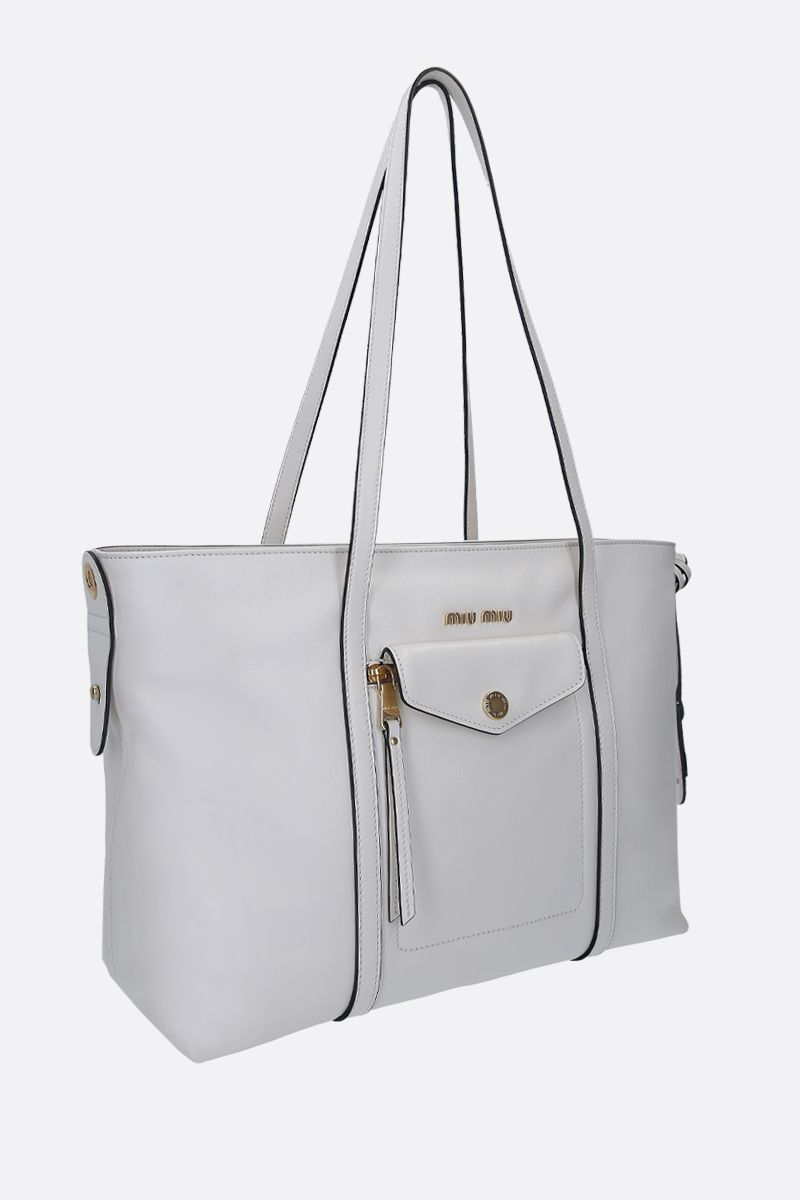 MIU MIU: Grace Lux leather tote bag Color White_2