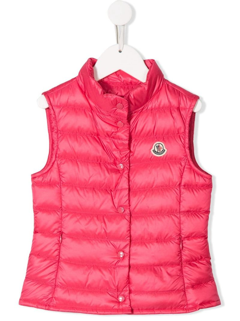 MONCLER KIDS: Liane sleeveless down jacket in nylon Color Pink_1