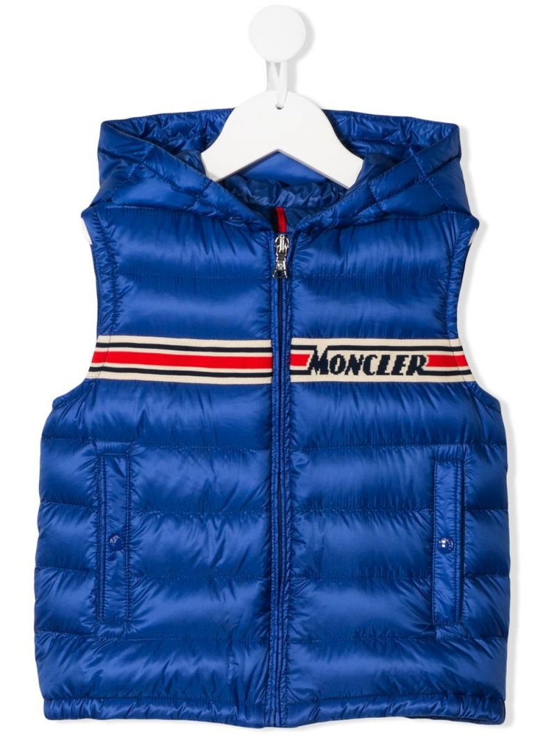 MONCLER KIDS: Bargy sleeveless down jacket in nylon Color Blue_1