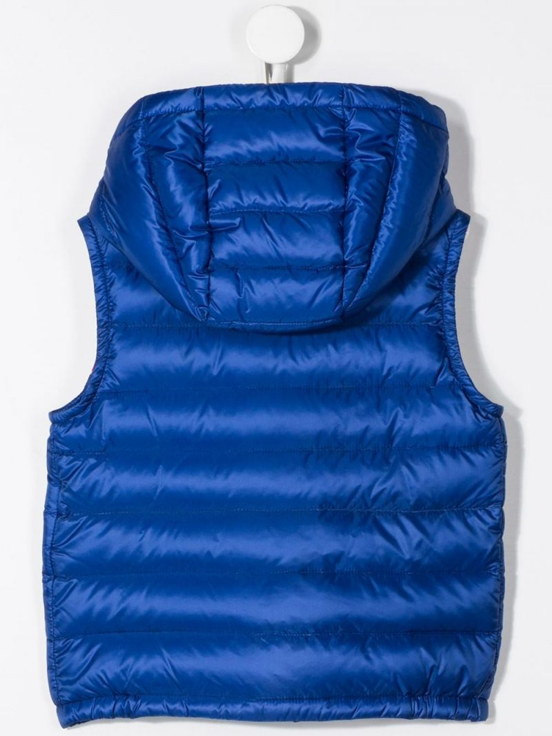 MONCLER KIDS: Bargy sleeveless down jacket in nylon Color Blue_2