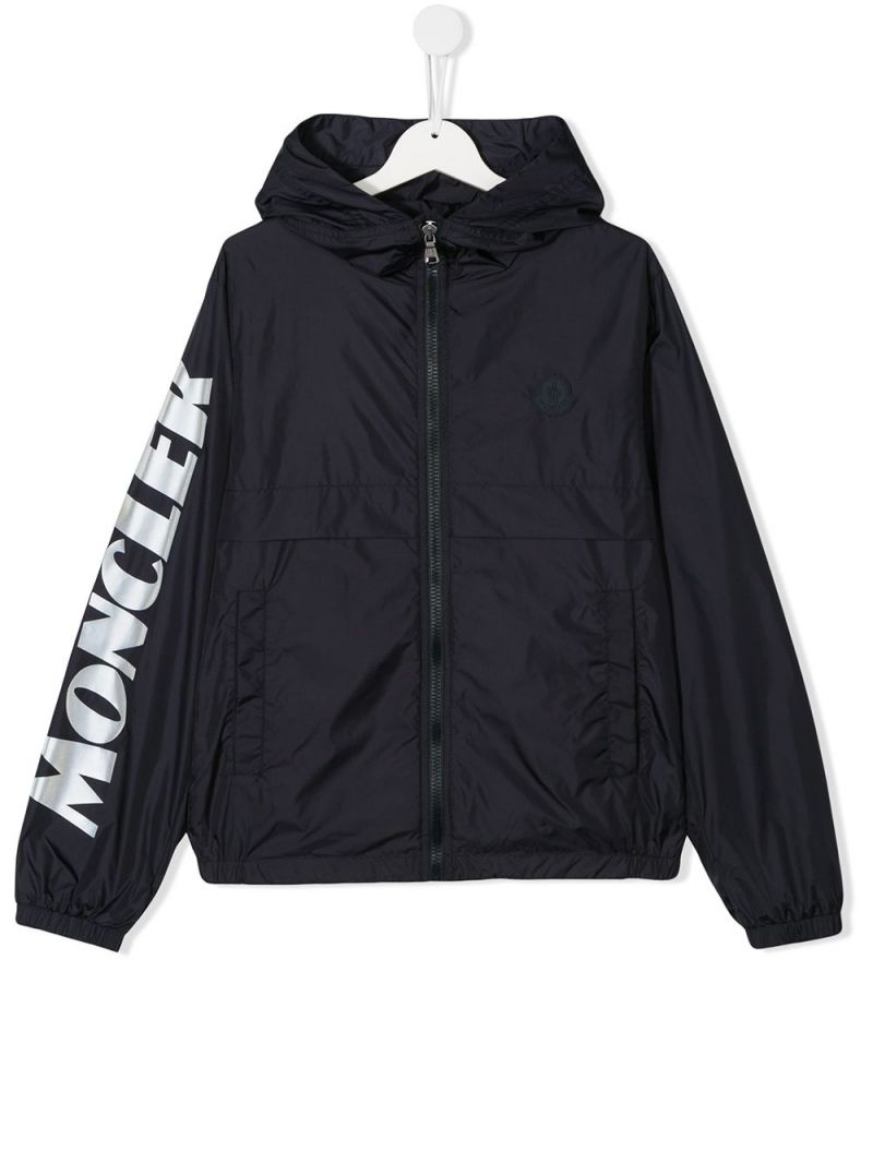 MONCLER KIDS: logo print nylon windbreaker Color Blue_1