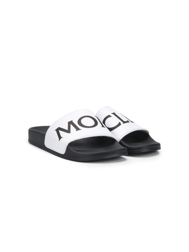 MONCLER KIDS: logo detailed rubber slide sandals Color White_1