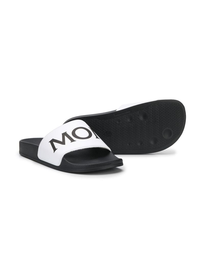 MONCLER KIDS: logo detailed rubber slide sandals Color White_2