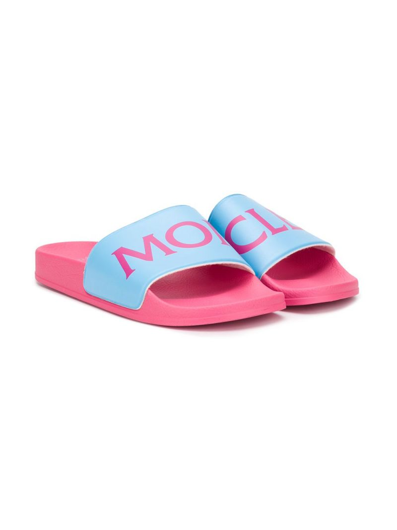 MONCLER KIDS: logo detailed rubber slide sandals Color Blue_1