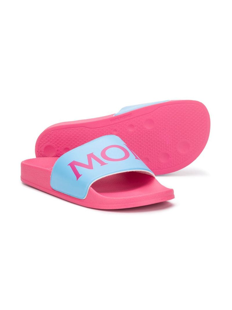 MONCLER KIDS: logo detailed rubber slide sandals Color Blue_2