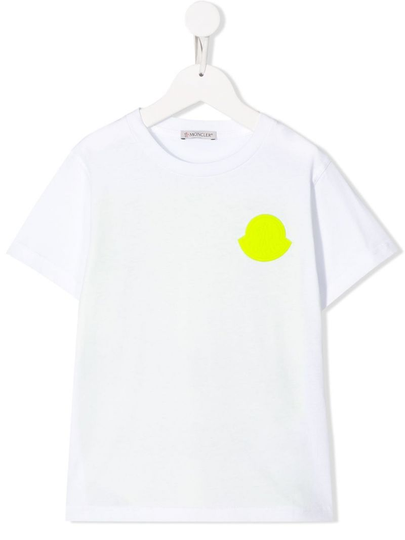 MONCLER KIDS: colour-block cotton t-shirt Color White_1