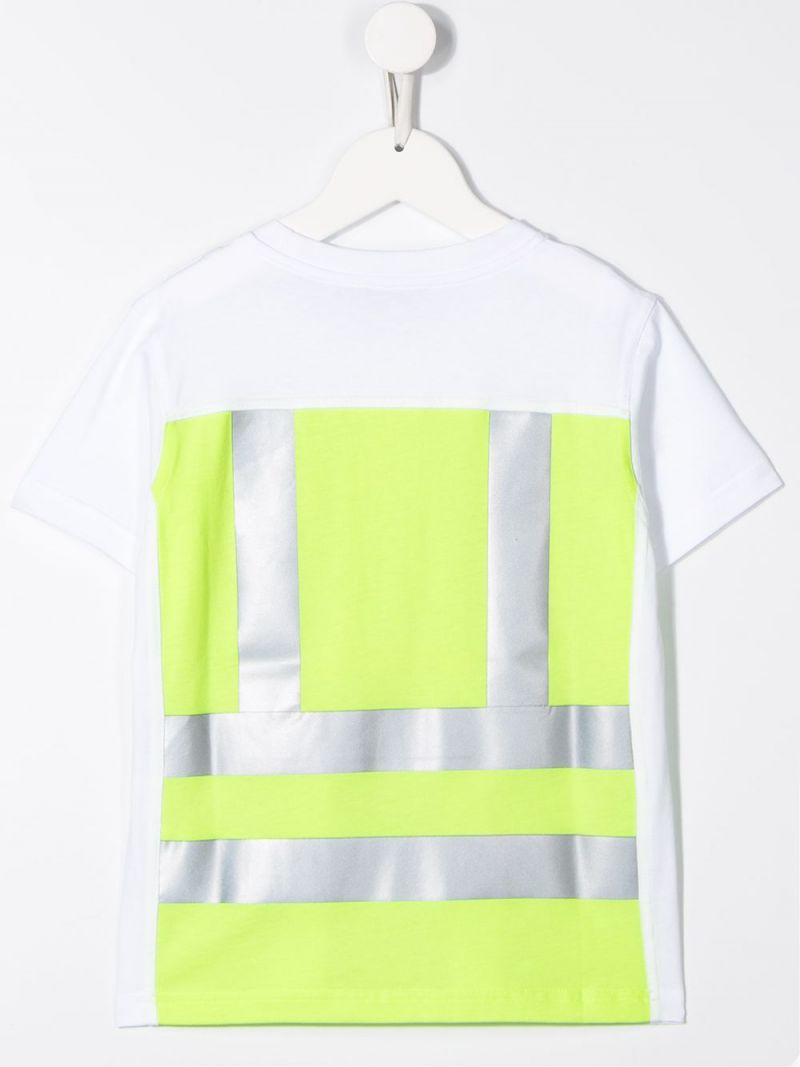 MONCLER KIDS: colour-block cotton t-shirt Color White_2