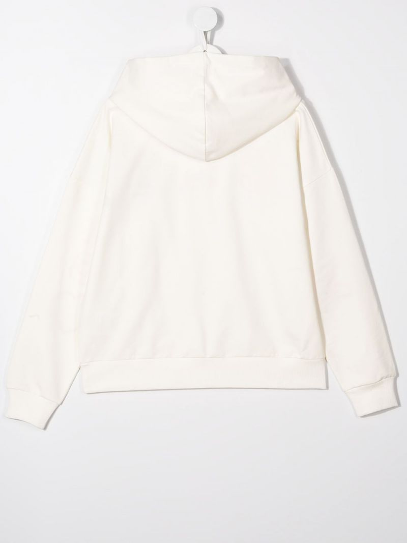 MONCLER KIDS: logo embroidered stretch cotton hoodie Color White_2