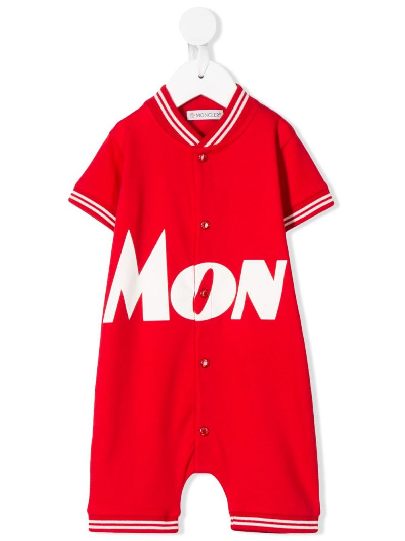 MONCLER KIDS: logo print stretch cotton playsuit Color Red_1