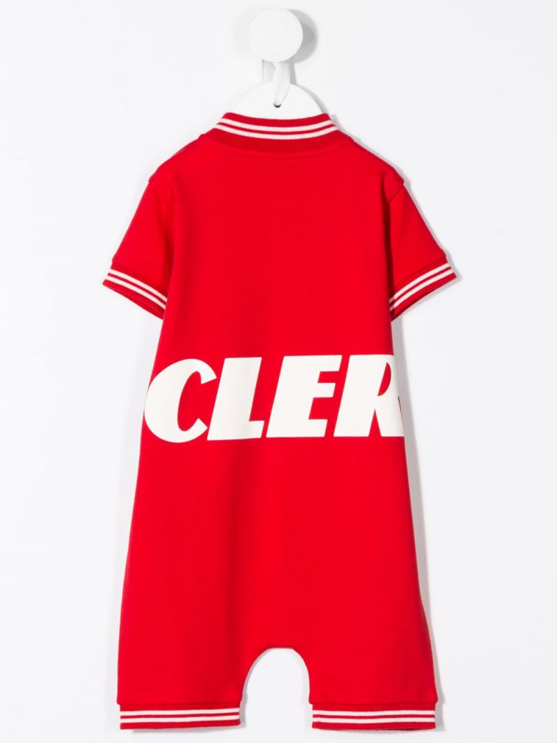 MONCLER KIDS: logo print stretch cotton playsuit Color Red_2