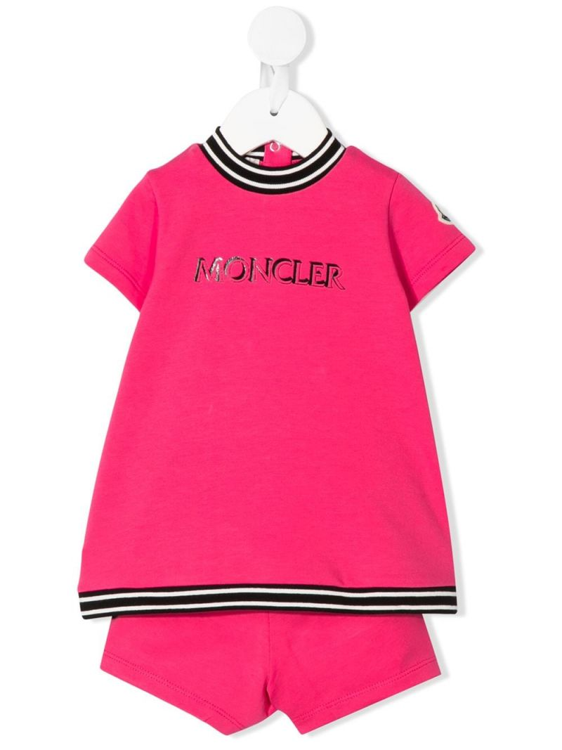 MONCLER KIDS: stretch cotton t-shirt and shorts Color Pink_1
