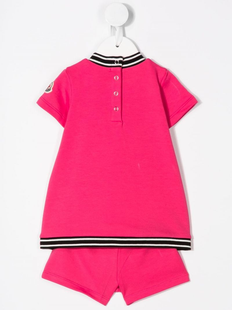 MONCLER KIDS: stretch cotton t-shirt and shorts Color Pink_2