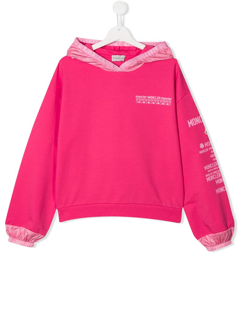 MONCLER KIDS: jersey hoodie with nylon inserts Color Pink_1