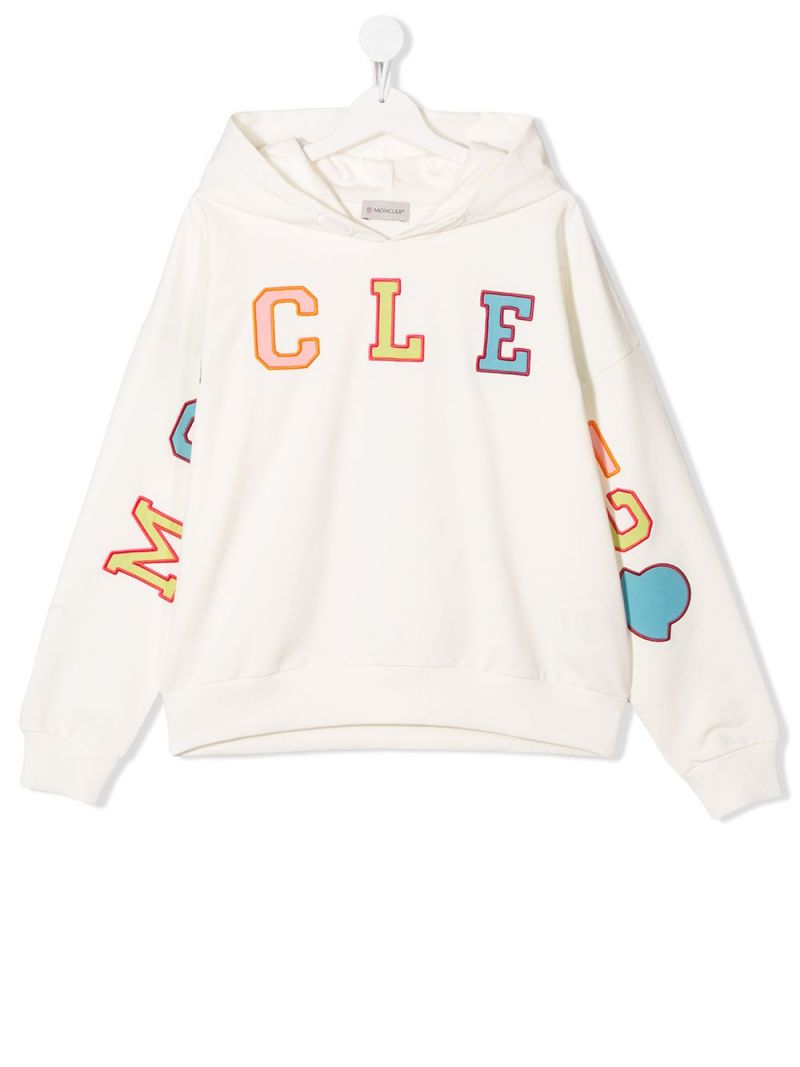 MONCLER KIDS: logo embroidered stretch cotton hoodie Color White_1