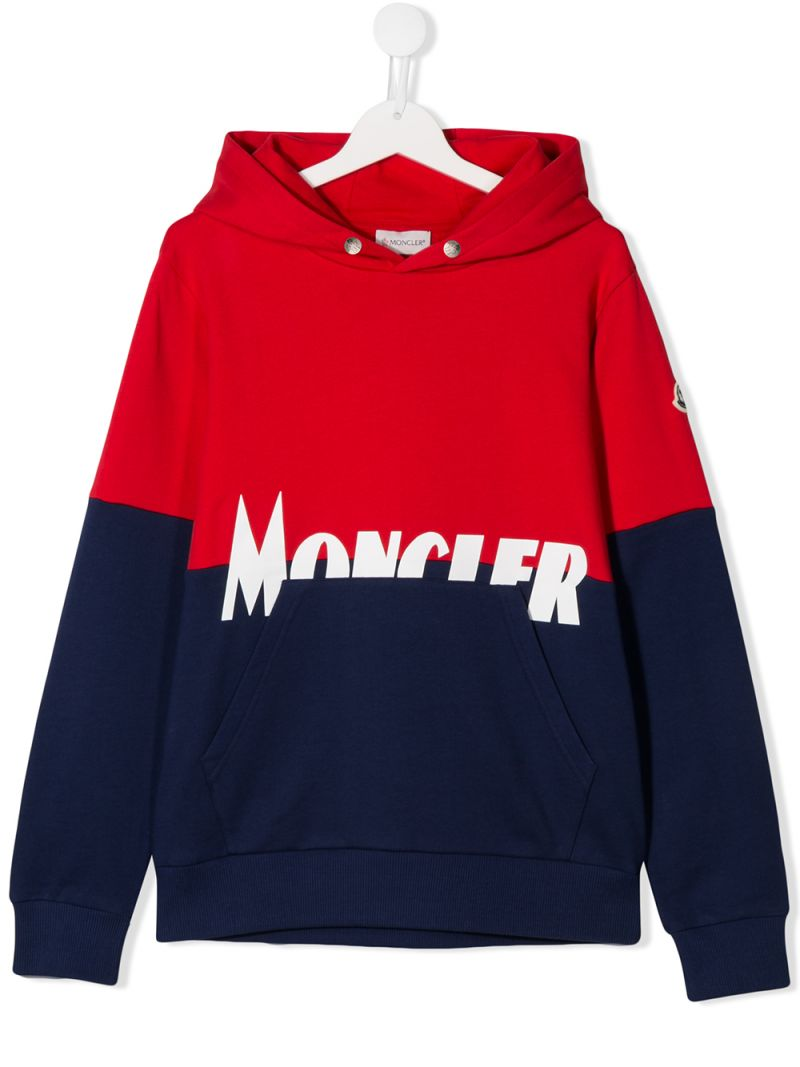MONCLER KIDS: logo print colour-block cotton hoodie Color Blue_1