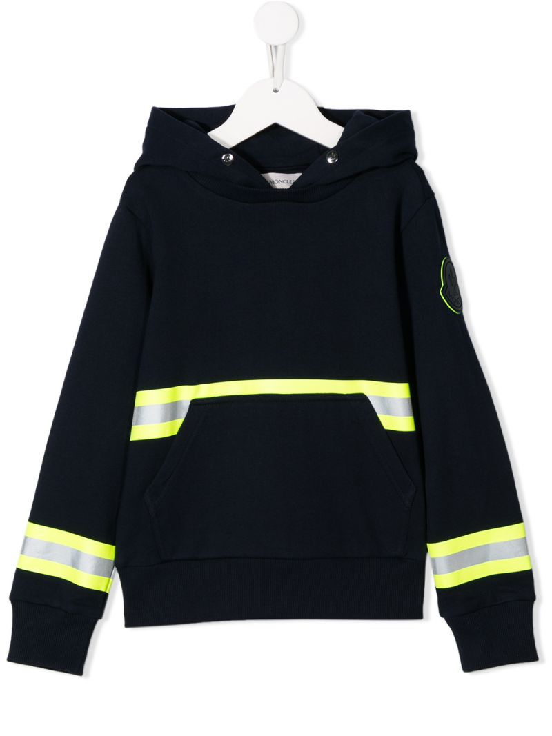 MONCLER KIDS: cotton hoodie with reflective details Color Black_1