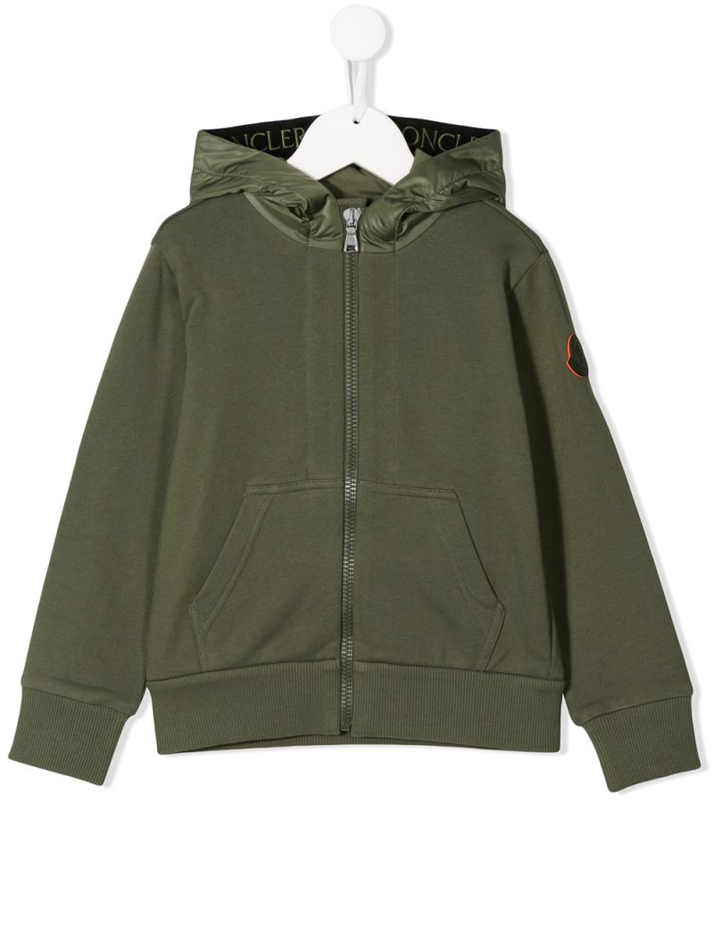 MONCLER KIDS: cotton full-zip hoodie Color Grey_1
