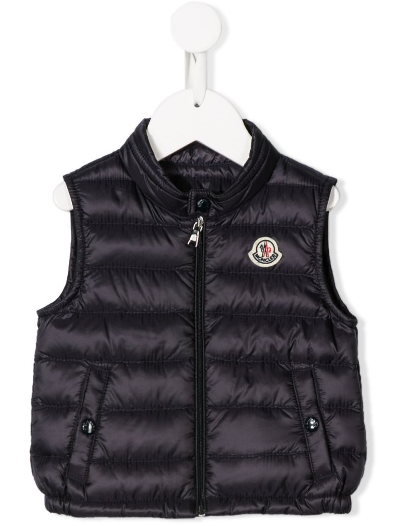 MONCLER KIDS: Amaury sleeveless down jacket in nylon Color Blue_1