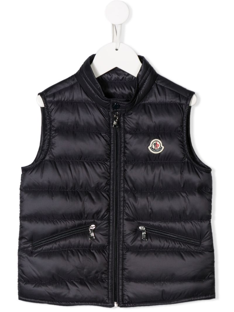 MONCLER KIDS: Gui sleeveless down jacket in nylon Color Blue_1