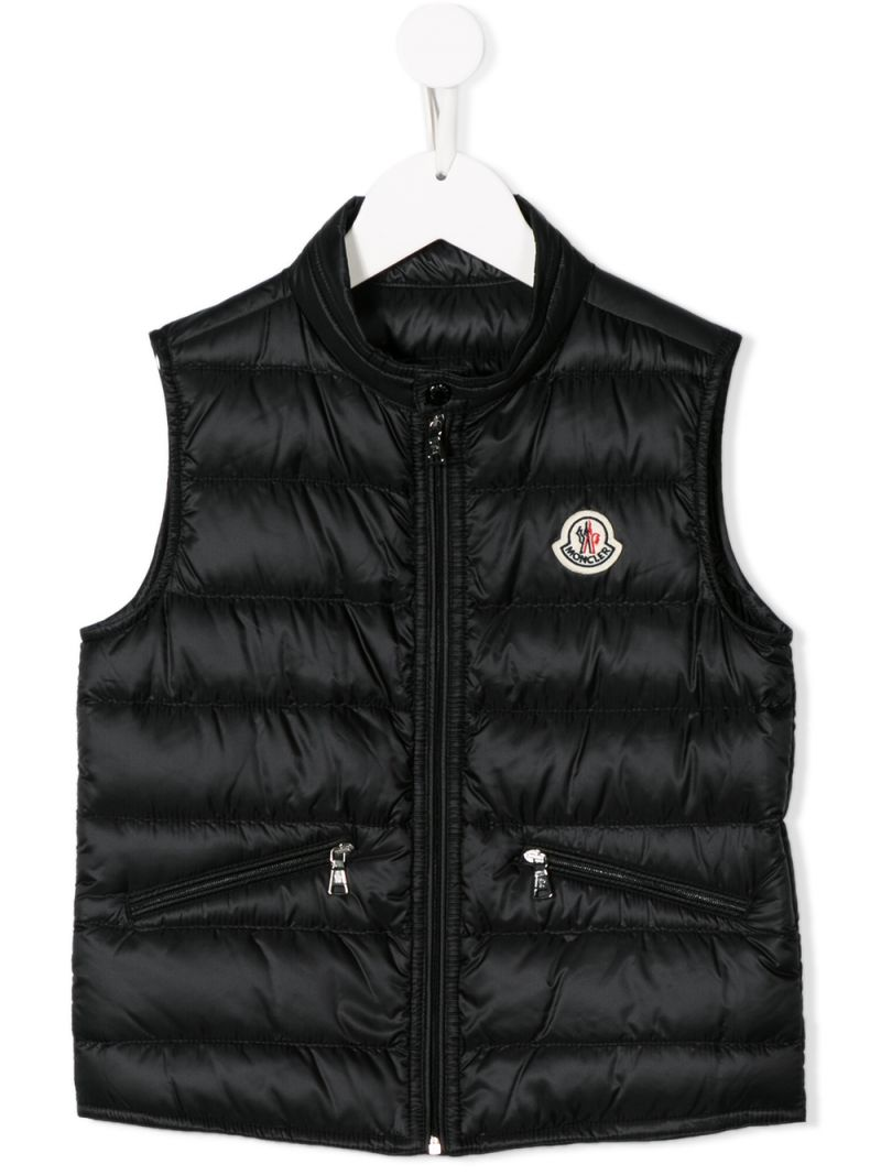 MONCLER KIDS: Gui sleeveless down jacket in nylon Color Black_1